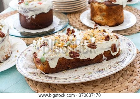 Easter cake decorated with nuts and dried fruits