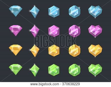 Colorful Precious Stones Set. Jewels And Crystals Of Different Shapes And Colors, Heart Shaped Gems,