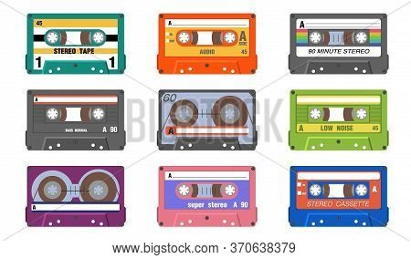 Retro Music Tapes Set. Vintage Audio Cassettes For Stereo Sound Equipment. Vector Illustration For O