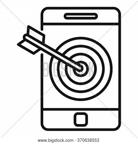 Smartphone Target Content Icon. Outline Smartphone Target Content Vector Icon For Web Design Isolate