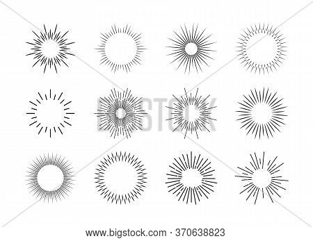 Bursting Sun Rays Set. Round Sun Or Firework Shapes With Beams. Flat Vector Illustration For Light,