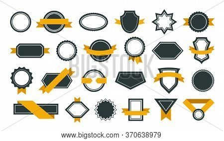 Award Badges Set. Festive Winner Ribbons And Medals, Best Quality Seals And Stamps. Vector Illustrat