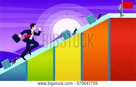 Man Is Running To Reach The Desired Goal