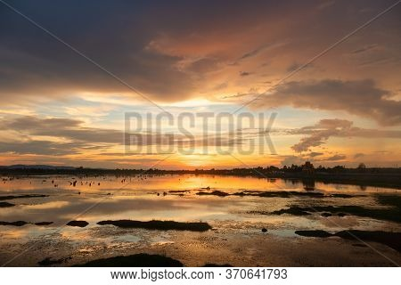 Sunset Landscape Lake And The Cloudy Beautiful