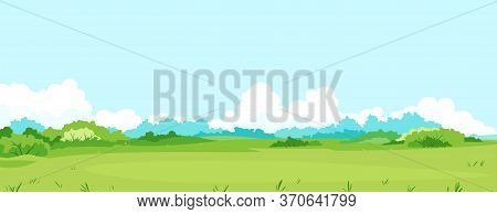 Green Meadow With Grass And Bushes Against Blue Sky With Big White Clouds, Summer Sunny Glade With F