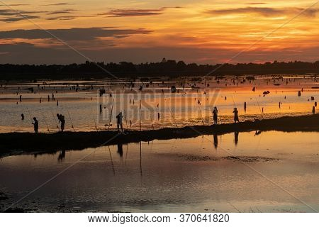 Beautiful Landscape Sunset And Fishing Daily Life Of People's