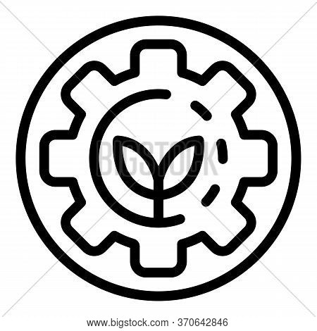 Gear Nature Energy Icon. Outline Gear Nature Energy Vector Icon For Web Design Isolated On White Bac