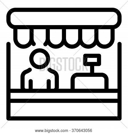 Shop Assistant Icon. Outline Shop Assistant Vector Icon For Web Design Isolated On White Background