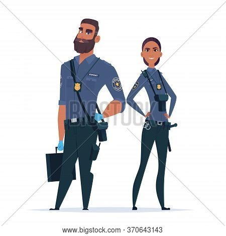 Police Expert Officer Couple In The Uniform. Police Characters. Public Safety Officers. Guardians Of