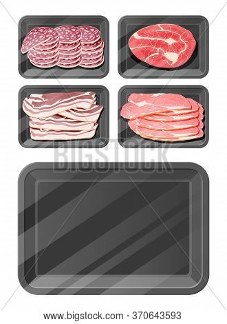 Meat Sausage Slice Steak In Black Polystyrene Packaging. Cut Sausage Slices With Fat. Boiled Smoked