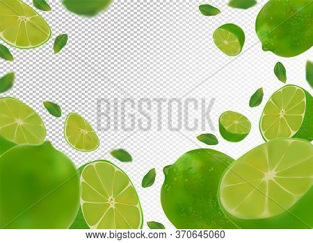Set Of Fresh Sour Lime With Green Leaves.falling Lime On Transparent Background. Flying Lime Fruits