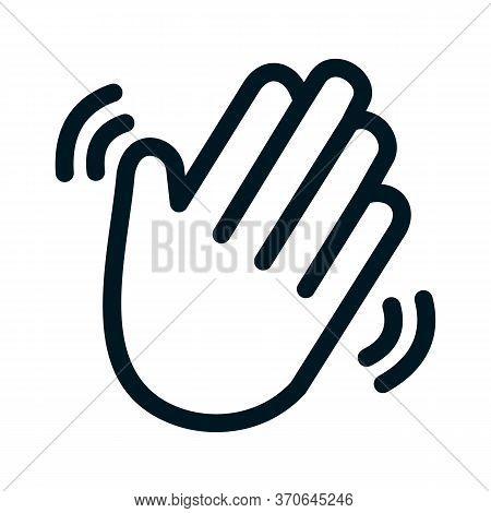 Black Line Icon For Hello Hiya Hey Howdy Welcome Greetings Hand-wave Gesture