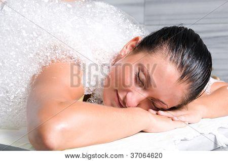 Soap sud at Turkish bath