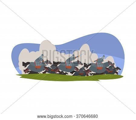 Mongolian Nomad, Asian Warriors Riding Horses And Fighting With Swords Vector Illustration