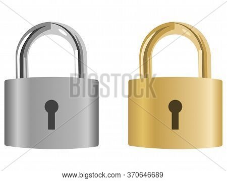 The Padlock. Two Realistic Padlocks, Gray And Golden, Isolated On A White Background. Vector, Cartoo