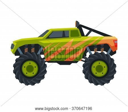Monster Truck Vehicle, Heavy Green Pickup Car With Large Tires Vector Illustration