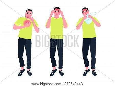 A Person With Symptoms Of A Cold Does Not Feel Well. Sneezing, Headache, Fever, Nasal Congestion. Ve