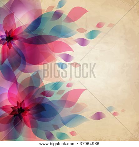 Abstract colorful background with flowers, holiday vintage card