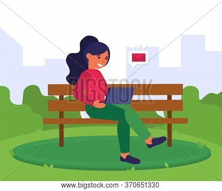 Young Woman Receiving Email On Laptop. Girl Sitting On Bench And Using Computer Outdoors Flat Vector