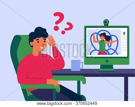 Couple Quarrelling During Video Call. Puzzled Man And Woman, Arguing, Conflict Flat Vector Illustrat