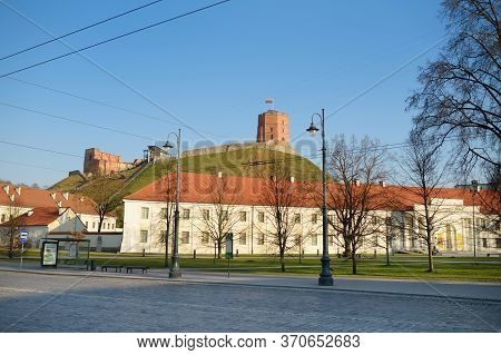 Vilnius, Lithuania - April 10, 2020: Gediminas' Tower, The Remaining Part Of The Upper Castle In Vil