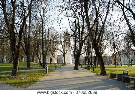 Vilnius, Lithuania - April 10, 2020: Streets Of The Old Town Of Vilnius, One Of The Largest Survivin