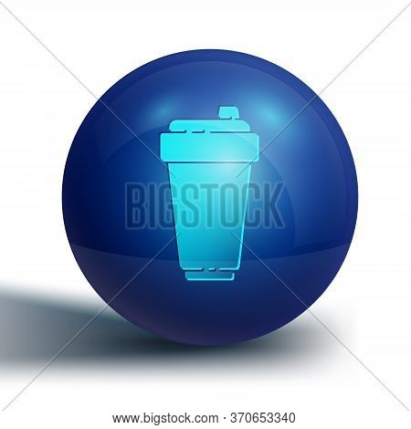 Blue Fitness Shaker Icon Isolated On White Background. Sports Shaker Bottle With Lid For Water And P