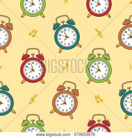 Seamless Pattern With Vintage Analog Alarm Clocks. Vector Flat Illustration