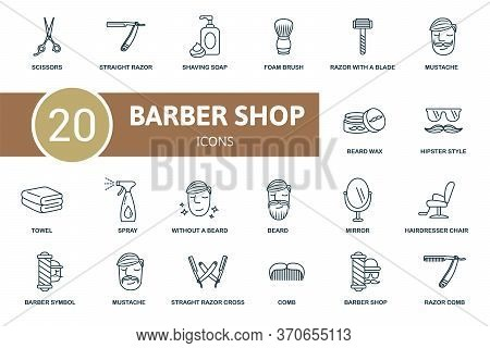Barber Shop Icon Set. Collection Contain Scissors, Foam Brush, Comb And Over Icons. Barber Shop Elem