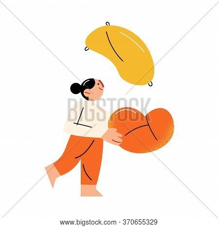 Young Girl Cathing Flying Pillow During Fight At Home Vector Illustration