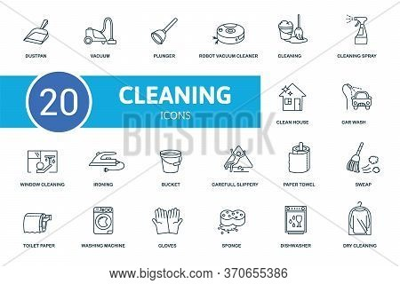 Cleaning Icon Set. Collection Contain Cleaning, Vacuum, Plunger, Bucket And Over Icons. Cleaning Ele