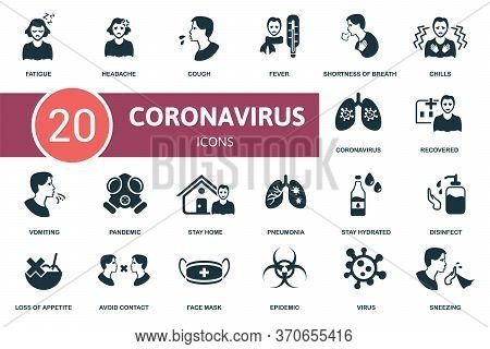Coronavirus Icon Set. Collection Contain Headache, Fatigue, Vomiting, Pandemic And Over Icons. Coron
