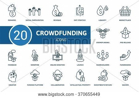 Crowdfunding Icon Set. Collection Contain Crowdfunding, Creator, Pre-release, Fundraising And Over I