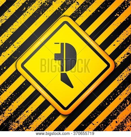 Black Fencing Helmet Mask Icon Isolated On Yellow Background. Traditional Sport Defense. Warning Sig
