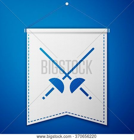 Blue Fencing Icon Isolated On Blue Background. Sport Equipment. White Pennant Template. Vector