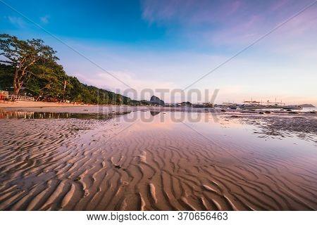 Long Corong Beach At Sunset. El Nido, Philippines