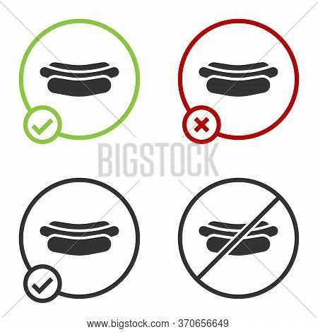 Black Hotdog Sandwich Icon Isolated On White Background. Sausage Icon. Fast Food Sign. Circle Button