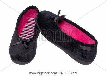 Slippers Isolated. Close-up Of A Pair Of Black Female House Slippers Or Ballerina Shoes Isolated On