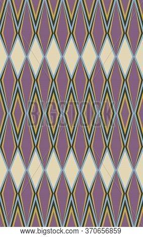 Japanese Style Retro Vintage Seamless Pattern Background Purple Geometry Check Kaleidoscope