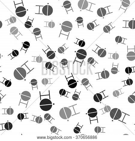 Black Barbecue Grill Icon Isolated Seamless Pattern On White Background. Bbq Grill Party. Vector
