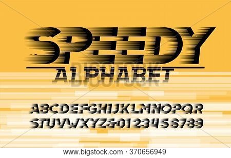 Speedy Alphabet Font. High Speed Effect Letters And Numbers. Abstract Background. Stock Vector Typef