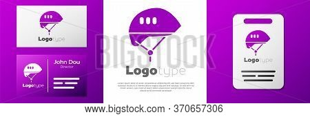 Logotype Bicycle Helmet Icon Isolated On White Background. Extreme Sport. Sport Equipment. Logo Desi