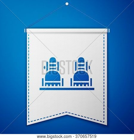 Blue Snowboard Icon Isolated On Blue Background. Snowboarding Board Icon. Extreme Sport. Sport Equip