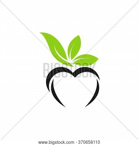 Green Vector Icon With Heart Shape And Two Leaves. Can Be Used For Eco, Vegan, Herbal Healthcare Or
