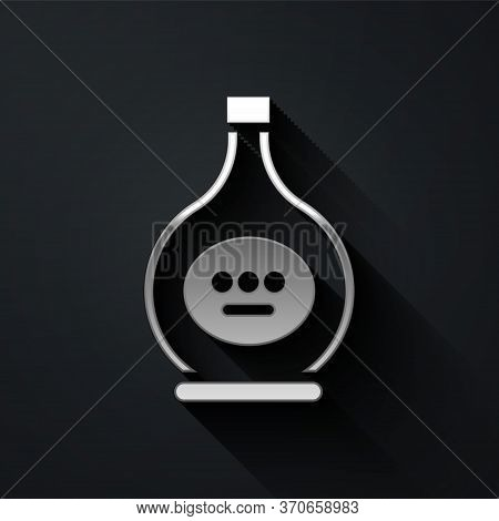 Silver Bottle Of Cognac Or Brandy Icon Isolated On Black Background. Long Shadow Style. Vector