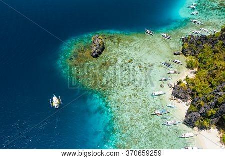 Shimizu Island, El Nido, Palawan, Philippines. Beautiful Aerial View Of Tourist Boat On Trip Close T