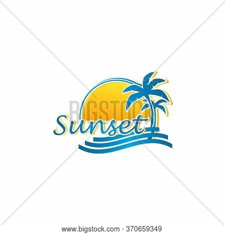 Sunset Vacation On Tropical Beach Sunset Label, With Palm Trees ,vector Illustration.eps 1o