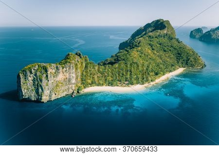 Aerial Drone View Of Dilumacad Called Helicopter Island In El Nido, Palawan, Philippines