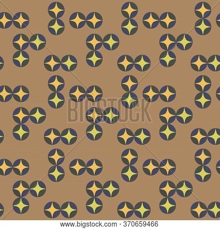 Japanese Style Retro Vintage Seamless Pattern Background Round Cross Kaleidoscope