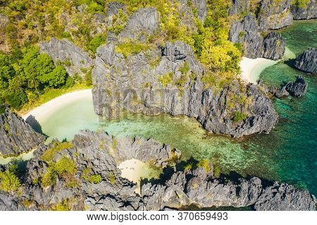 El Nido, Palawan Island. Hidden Lagoon And Lime Stone Rock Formation. Famous Spot In Philippines